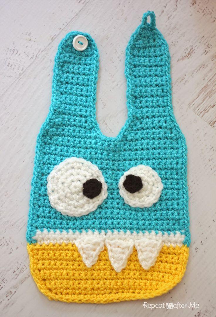Crochet Monster Baby Bib: free #crochet #bib #pattern