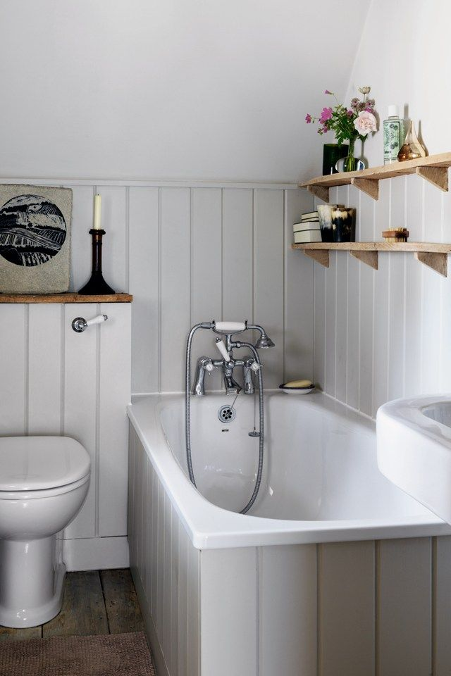Beautiful country bathroom with tongue and groove paneling. Open shelves make the room feel larger and helps keep your accessories to hand. If you like this pin, why not head on over to get similar inspiration and join our FREE home design resource library at http://www.TheHomeDesignSchool.com/signup