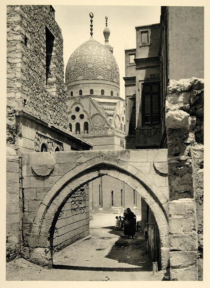 This is an original 1937 photogravure of the Tomb of Sultan Qaytbay (Qaitbay, Kait Bey, Qaitbey, Qaytbey) in Cairo, Egypt. Photograph by Martin HŸrlimann.