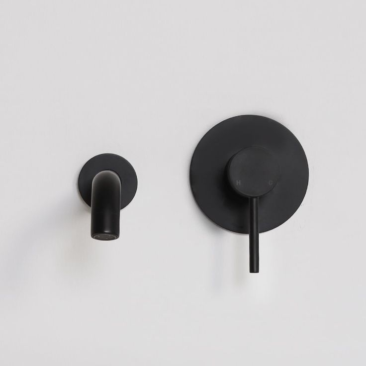 Lusso Noir Luxe Series Wall Mounted Bath Mixer Tap Valve & Spout Matt Black   Brassware