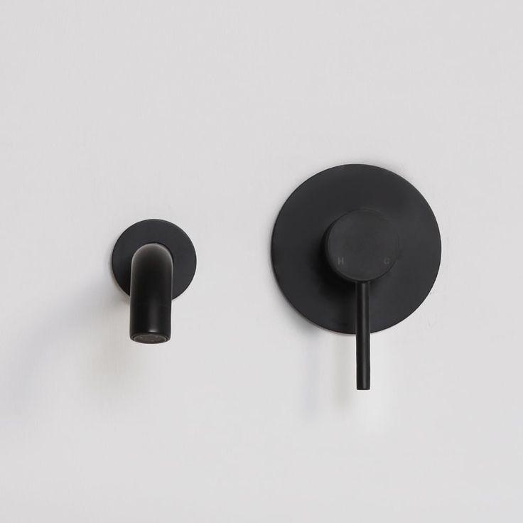 Lusso Noir Luxe Series Wall Mounted Bath Mixer Tap Valve & Spout Matt Black | Brassware