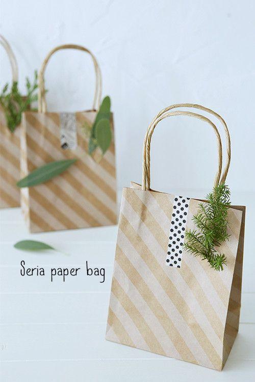 ★セリア100円紙袋と枝で簡単冬ラッピング♪|インテリアと暮らしのヒント