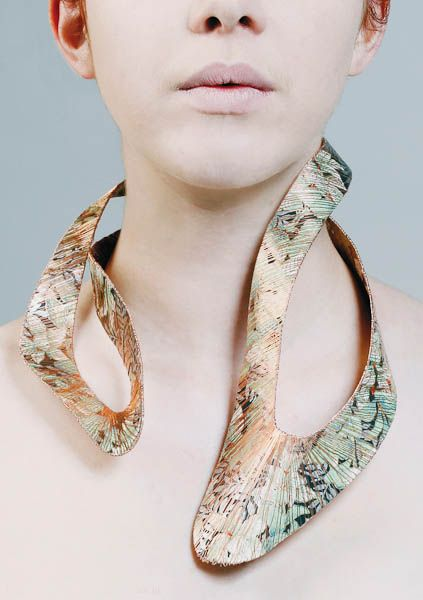 Art Jewellery - Sculptural Printed Neckpiece made of copper, wire and paper // contemporary jewelry design, Yiu Bonnie
