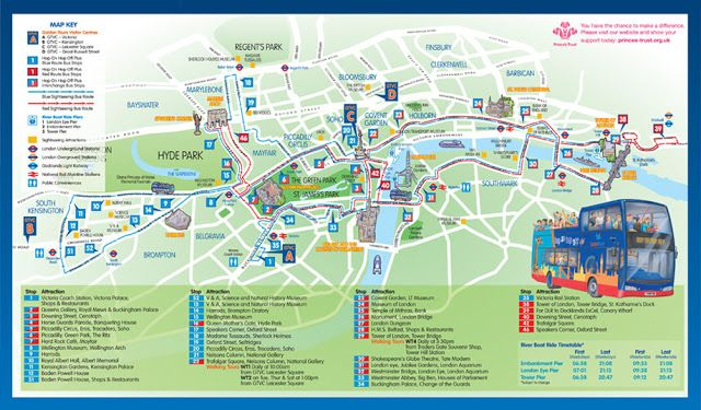Best Map of London | Route Map London Tourist Bus Map