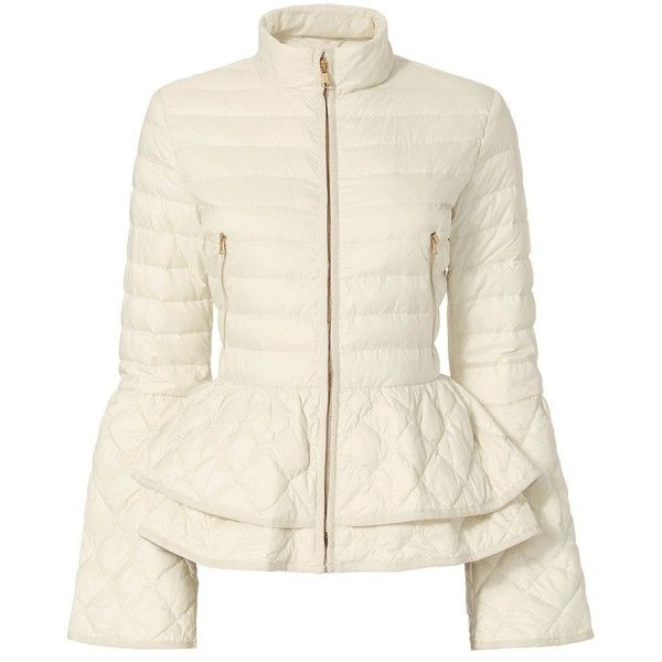 The quilted fill puffer jacket with a double peplum hem.  Center zip closure.  Two zip pockets.  Flared long sleeves.  In ivory.  Fabric: 100% polyamide Fill: …