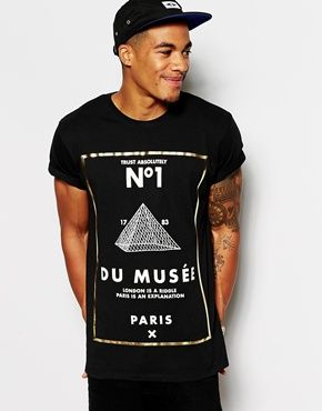 Enlarge ASOS T-Shirt With Monochrome Gold Foil Print And Rolled Sleeve Skater Fit