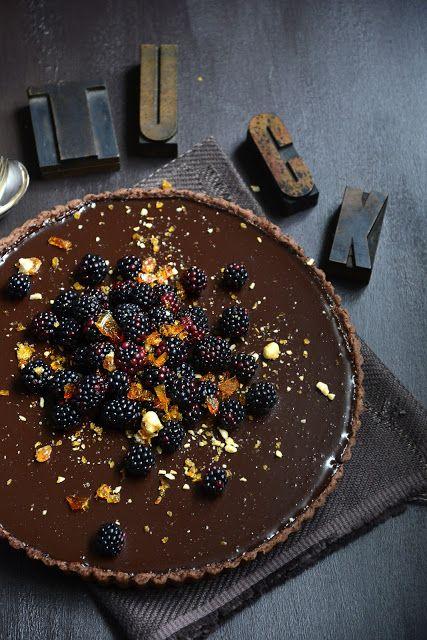 Dark Chocolate Tart with Blackberries & Hazelnut Praline