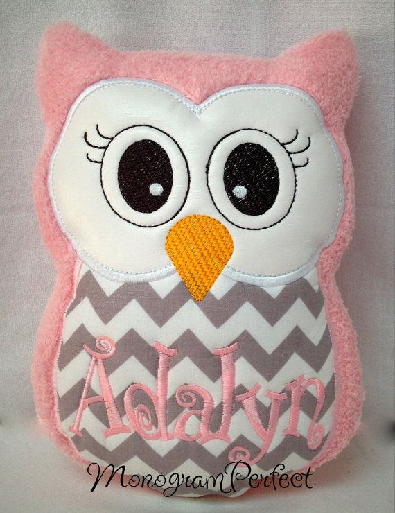Light Pink & Gray Baby Chevron Owl Reading by MonogramPerfect, $24.95