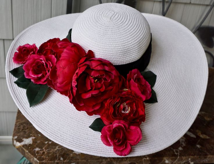 Kentucky derby hat, tea party hat with flower bouquet, white garden wedding hat, romantic hat, little black dress hat by girlylittle on Etsy