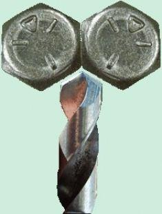 Bohrerschärfanleitung Selbst gemachte Bohrer Schärfführung ausgebildet aus einem Paar von Sechskantschrauben befestigt zusammen.