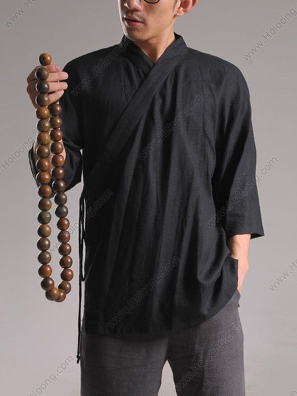 men 39 s linen half sleeve hanfu monk suit jacket us chinese fashion and cosplay esprit. Black Bedroom Furniture Sets. Home Design Ideas