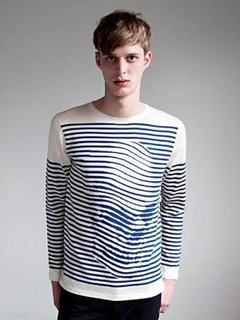 Fine knit 100% Cotton Breton sweater with instarsia Noah Scalin skull image  within the stripes