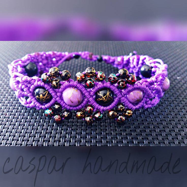 purple macrame bracelet with beads #caspar #casparhandmade