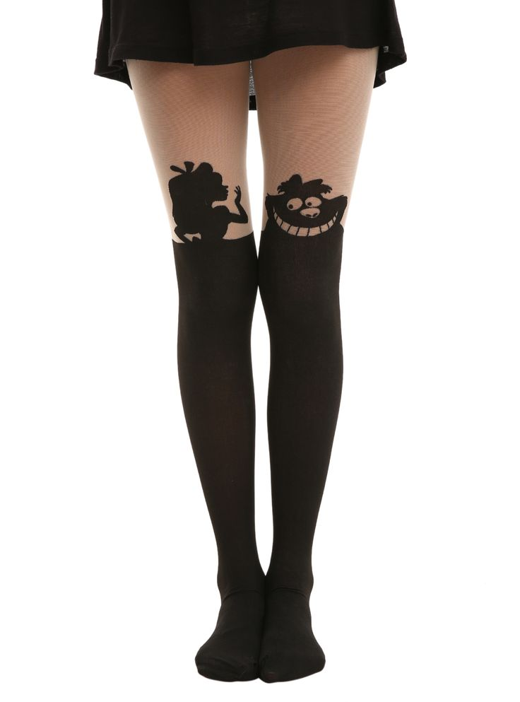 Disney Alice In Wonderland Silhouette Tights these are amazing I want them and every Disney theme tights