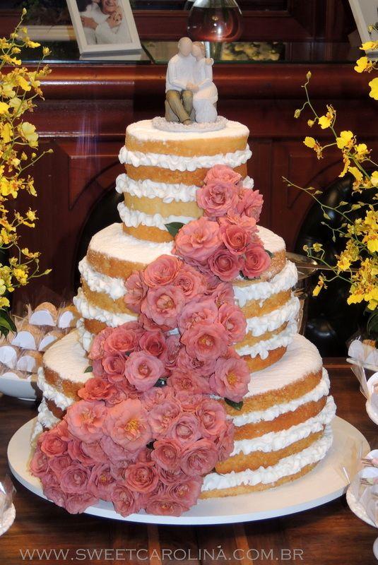 Wedding cakes, 3 andares, flores naturais, bolo de casamento, naked cake, cascata de flores