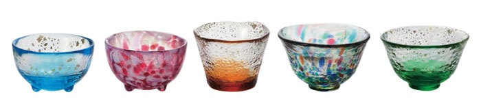 small glass set from Aomori in Japan 津軽びいどろ五様ミニグラスセット