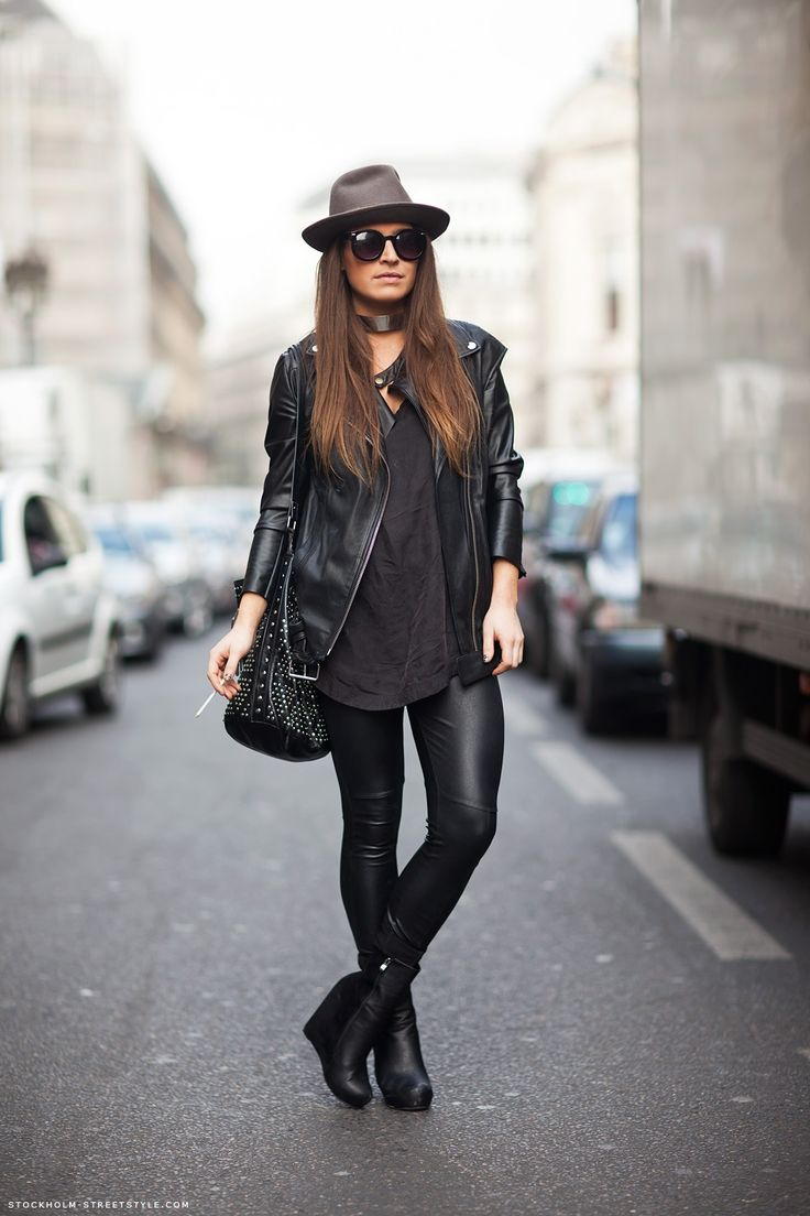 Fashion, Biker Jackets, All Black, Street Style, Black Outfit, Black On Black, Wedges Boots, Leather Pants, Black Wedges