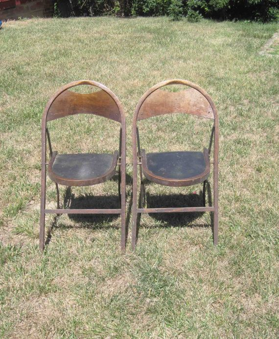 Vintage 2 Folding Chairs Metal Amp Wood Made By Stakmore Mfg