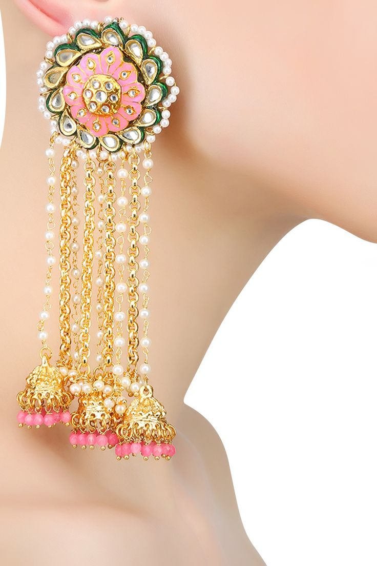 Just Jewellery presents Gold plated pink thewa chain jhumki earrings available…