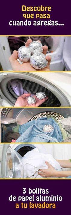 3 bolitas de papel aluminio es un truco genial #lavar #ropa #tips