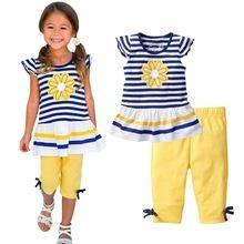 2 Pcs Meninas Roupas de Verão Define Princesa Margarida T-shirt + Calças Crianças Ternos de Algodão 0-7A G56 alishoppbrasil