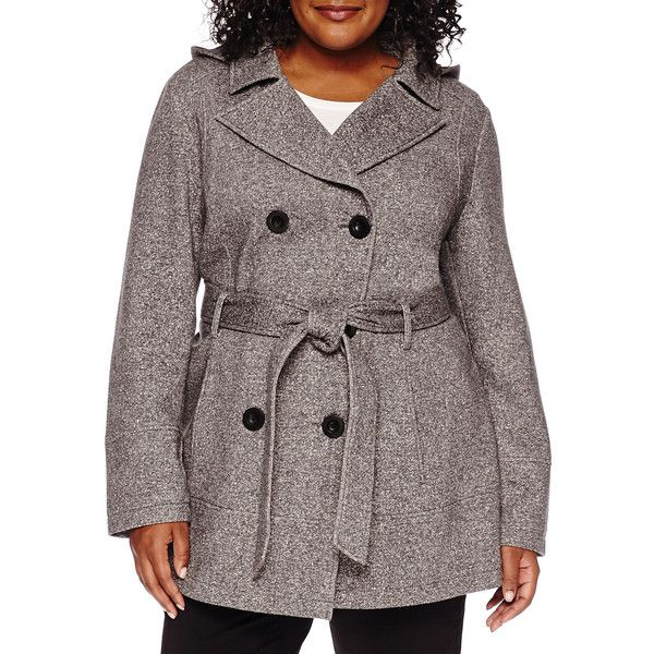 Liz Claiborne Belted Fleece Trench Pea Coat ($100) ❤ liked on Polyvore featuring plus size women's fashion, plus size clothing, plus size outerwear, plus size coats, plus size, belted coat, plus size pea coat, peacoat trench coat, plus size peacoat and women's plus size coats