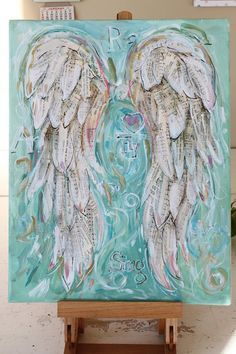 Angel Wings art painting Custom order your own special set of wings. 11×14 inches Message me favourite songs, words, also available 16×20