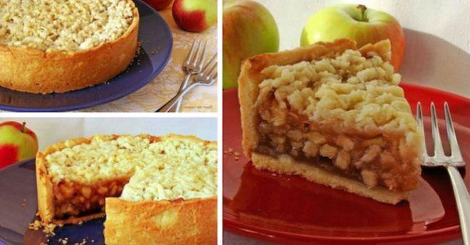 Очень вкусный пирог. Все как мы любим — тонкое вкусное тесто и много-много ароматной яблочной начинки. И диво как хорош он именно таким, чуть остывшим, только чтобы можно было нарезать. Самое-самое то. Потом тоже вкусно. Но вот этот момент, он особенно прекрасен. Пара технических моментов. В оригинале написано, что количество ингредиентов дано на форму Д=26 …