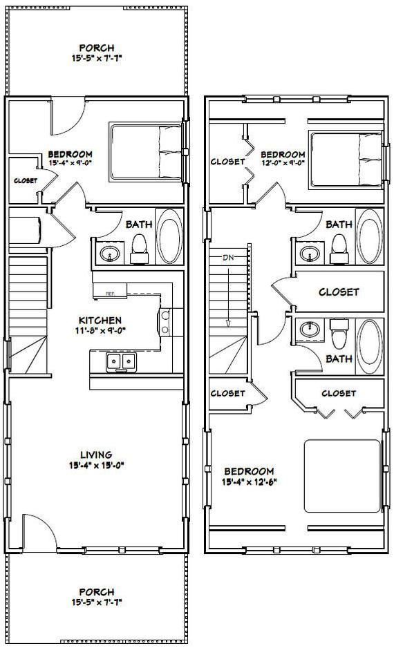 16x40 House 1193 Sq Ft Pdf Floor Plan Instant Etsy In 2020 Tiny House Floor Plans Narrow Lot House Plans Shed House Plans