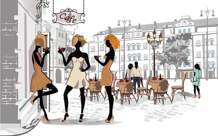 Париж_Кафе_девушки_улица_дома