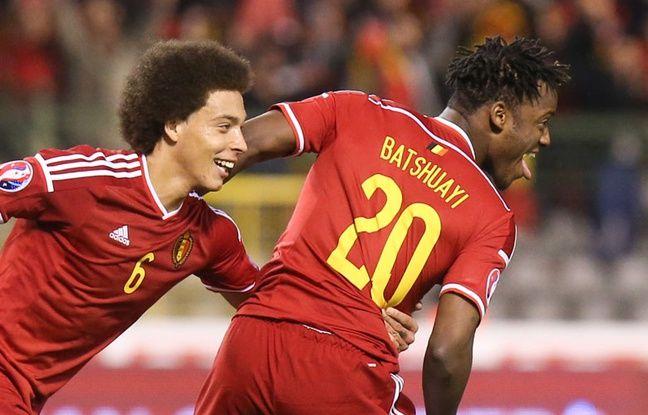 Michy Batshuayi après son but face à Chypre avec la Belgique, le 27 mars 2015
