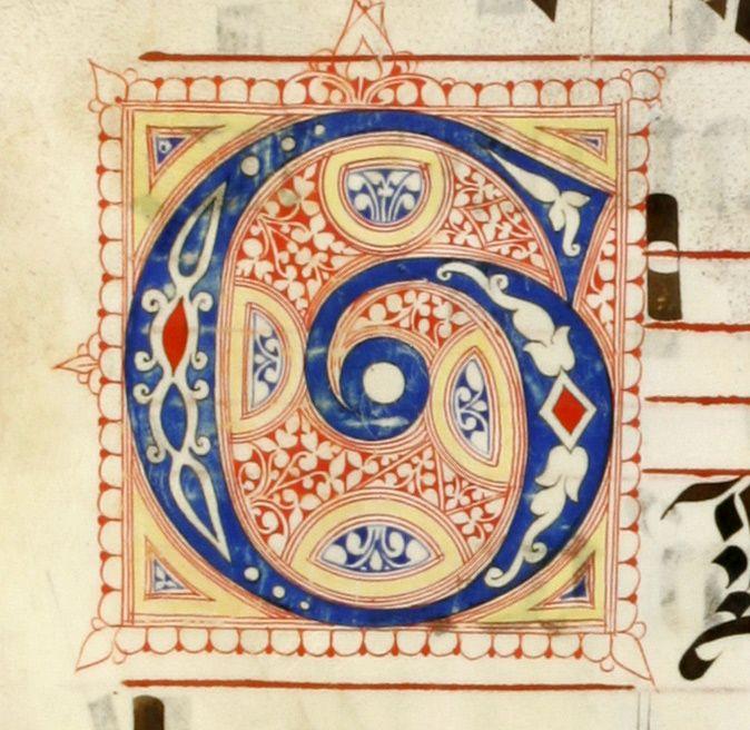 Le miniature del Graduale e Messale T carta: 7r titolo: Iniziale K; Iniziale G; Iniziale E autore: Calligrafo fiorentino (bottega del Torelli?) tecnica: inchiostro e penna
