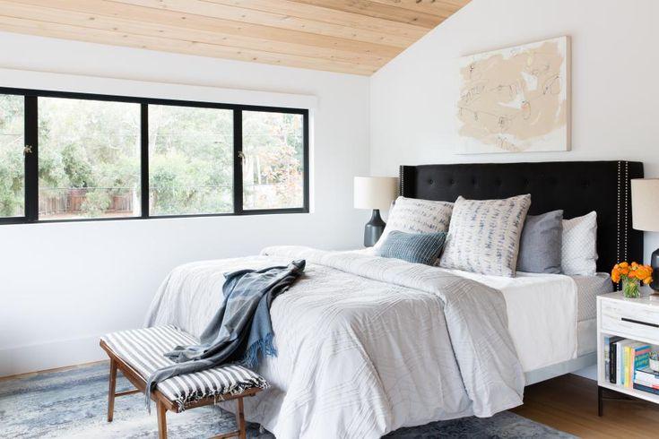 We love a dark headboard! Image via: Rooms Viewer   HGTV
