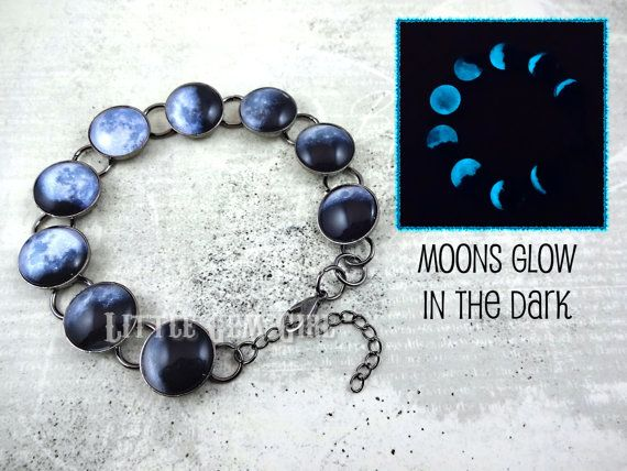 Glow in the Dark Moon Phase Bracelet  Lunar by LittleGemGirl