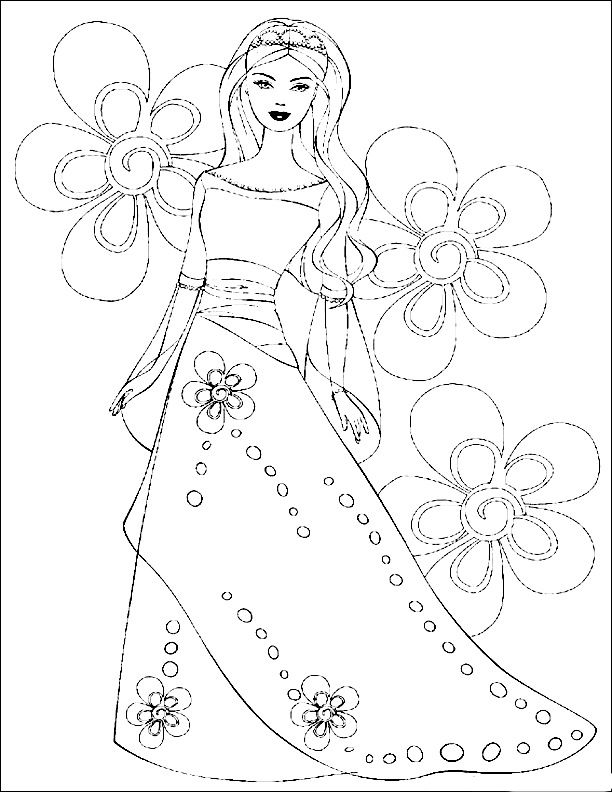 Flower Power Barbie Princess Coloring PagesHealthy
