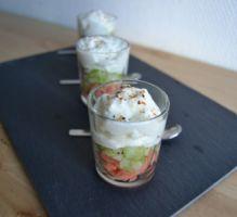 Recette - Verrine de saumon fumé, concombre et mousse de chèvre - Notée 4.4/5 par les internautes