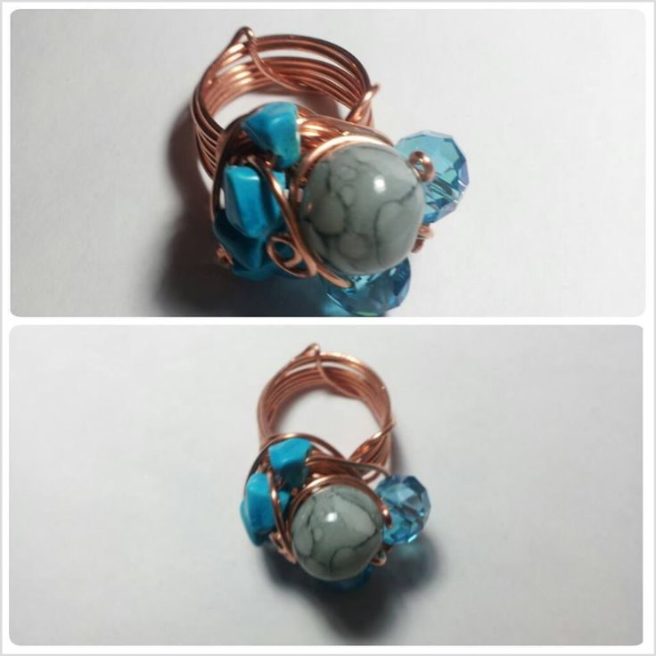Sea Ring, realized with copper's wires and blue and grey stones