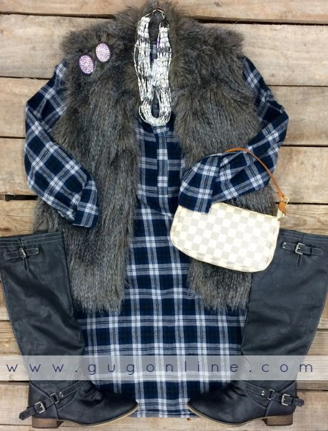 Navy Plaid Tunic | $39.95