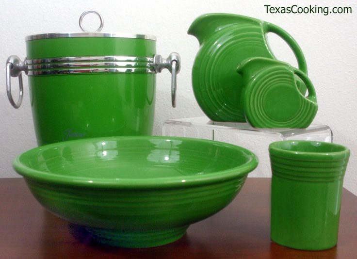 Shamrock Fiesta - Ice Bucket, Disc Pitchers, a Tumbler and Presentation Bowl #Fiestware