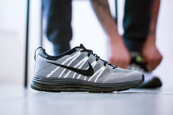 Nike Flyknit Lunar 1+ White/Black/Dark Grey-Volt