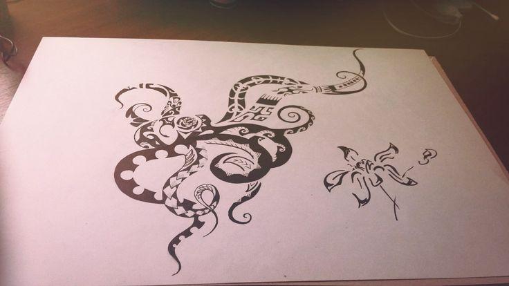 осминог Полинезийское Тату  Polinesian tattoo татуировка в стиле полинезия