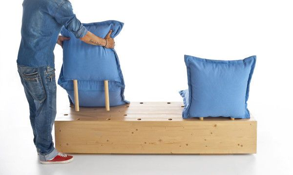 Outdoor Pillow Pegboard Benches | Formabilio's Comfortable Outdoor Furniture is Simple and Adaptable
