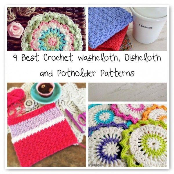 crochet dishcloth patterns 600x600 9 Best Crochet Washcloth, Dishcloth and Potholder Patterns