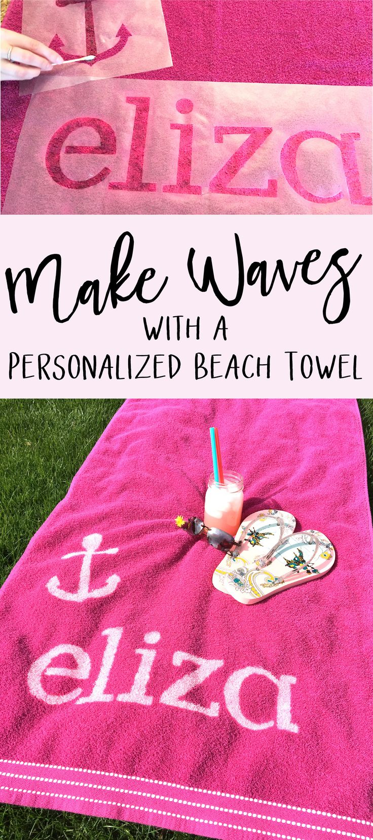 As a kid, whenever we went on vacation, you could always find me lurkin' around the personalized key chain display. I love things with my name on them! This love for monograms and personalization is what sparked the idea for today's DIY project: a customized beach towel. I've always wanted a personalized beach towel, the perfect summer accessory, but I'm too cheap to pay the personalized price. This is why I spent many hours (and ruined many towels) honing this method, so read on to find out…