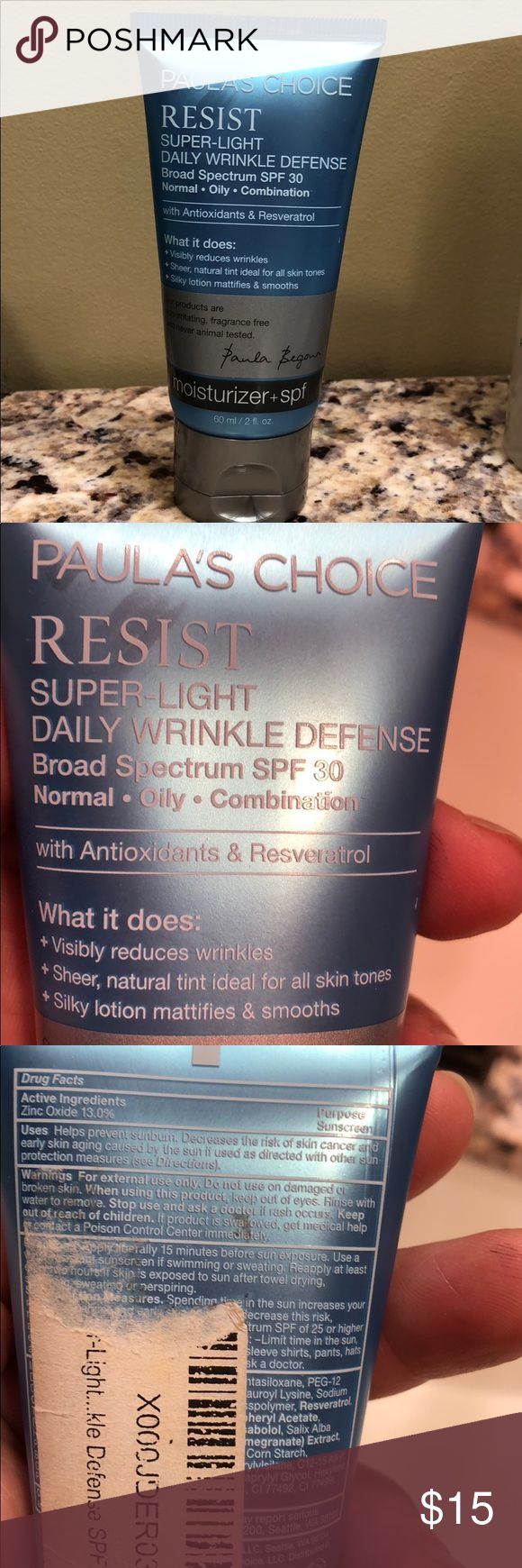 Paula's Choice Resist Super-Light Wrinkle Defense Paula's Choice Super Light Wrinkle Defense moisturizer + spf.  SPF 30. Color is light.  Only used a couple of times.  This is for oily to combination skin and my skin is too dry.  Can double as a light coverage foundation!!!  Expires 8/18.  More than 3/4 full!  Fast shipper and non smoking home! Paula's Choice Makeup Foundation