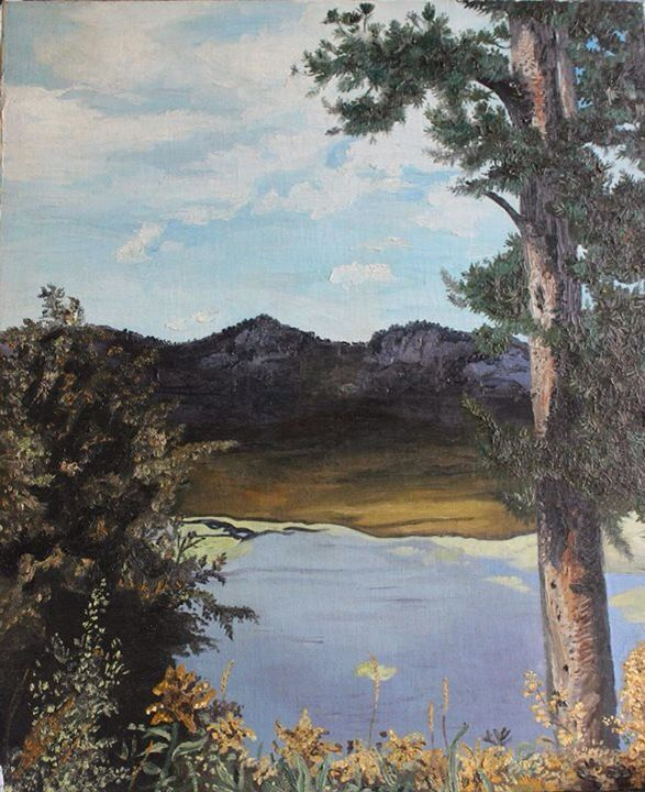 Leaving Yellowstone Park, mom did her first oil on board-backed canvas. This is one of three paintings, of which she was not pleased. Being her own worst critic, she stashed these in the humidity poisoned storeroom. This severely mildewed and deteriorating painting was restored for us by an angel in Asheville!