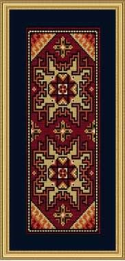 Caucasus Panel 8 cm x 20 cm Inspired by the geometrical patterns and designs of Caucasian carpets.