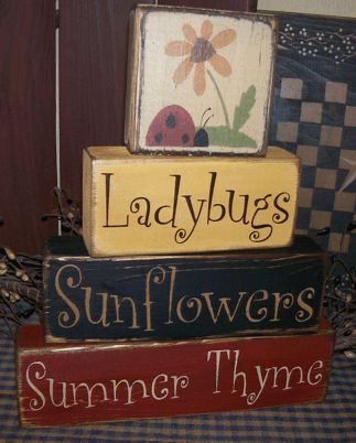 LADYBUGS SUNFLOWERS SUMMER THYME PRIMITIVE BLOCK SIGN SIGNS