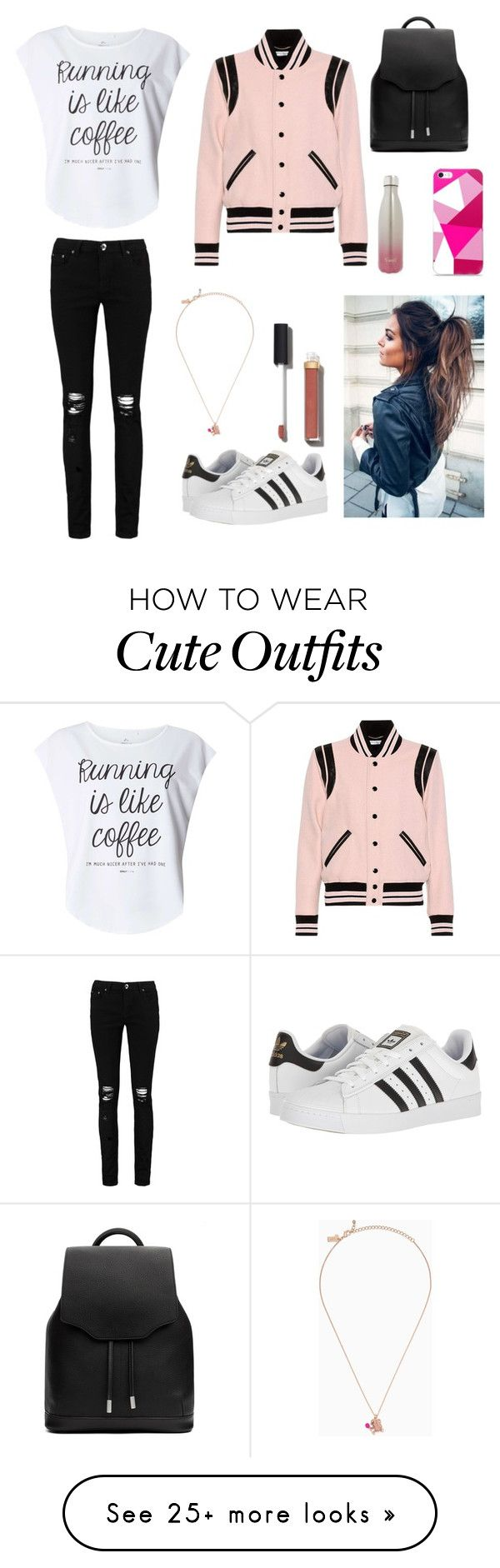 """""""liliyas back to school outfit"""" by emiliyberezhkova on Polyvore featuring Yves Saint Laurent, Dorothy Perkins, Boohoo, adidas, rag & bone, Chanel, Kate Spade and S'well"""