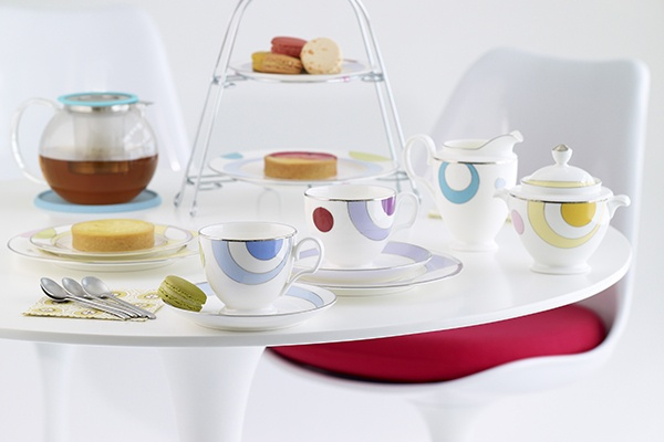 Noritake Cosmic tea setting comes in 3 fun colour schemes: yellow, blue and purple. www.noritake.com.au